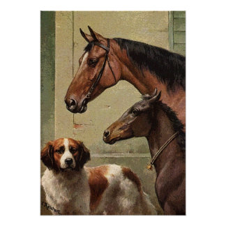 Horses and St Bernard Vintage Art Poster