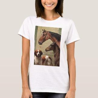 Horses and St Bernard Vintage Art T-Shirt