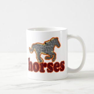 horses animal farm country style coffee mug