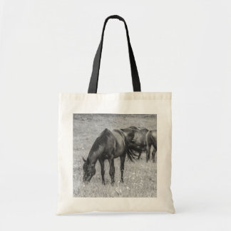 HORSEs Animals B&W Budget Tote