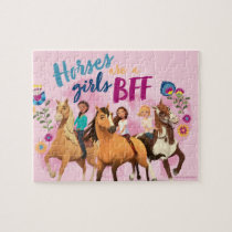 """Horses Are A Girls BFF"" Friends Watercolor Art Jigsaw Puzzle"