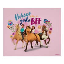 """""""Horses Are A Girls BFF"""" Friends Watercolor Art Poster"""