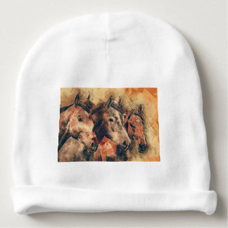 Horses Artistic Watercolor Painting Decorative Baby Beanie