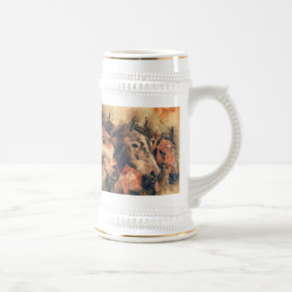 Horses Artistic Watercolor Painting Decorative Beer Stein