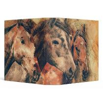 Horses Artistic Watercolor Painting Decorative Binder
