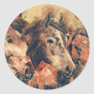 Horses Artistic Watercolor Painting Decorative Classic Round Sticker