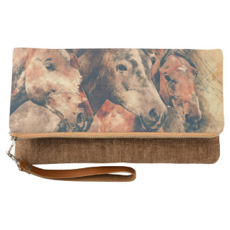 Horses Artistic Watercolor Painting Decorative Clutch