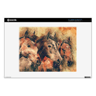 "Horses Artistic Watercolor Painting Decorative Decal For 12"" Laptop"