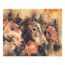 Horses Artistic Watercolor Painting Decorative Flyer