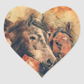 Horses Artistic Watercolor Painting Decorative Heart Sticker