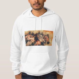 Horses Artistic Watercolor Painting Decorative Hoodie