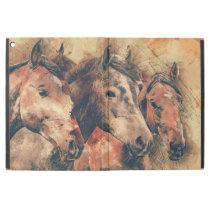 "Horses Artistic Watercolor Painting Decorative iPad Pro 12.9"" Case"