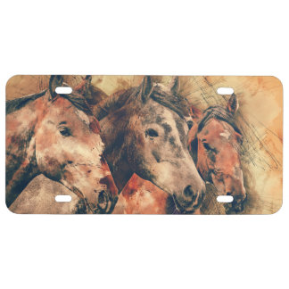 Horses Artistic Watercolor Painting Decorative License Plate