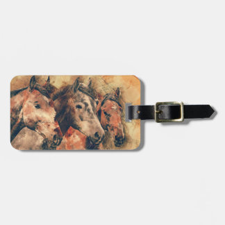 Horses Artistic Watercolor Painting Decorative Luggage Tag