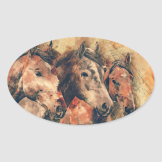 Horses Artistic Watercolor Painting Decorative Oval Sticker