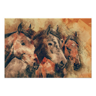 Horses Artistic Watercolor Painting Decorative Poster