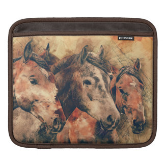 Horses Artistic Watercolor Painting Decorative Sleeve For iPads