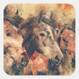 Horses Artistic Watercolor Painting Decorative Square Sticker