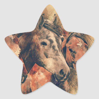 Horses Artistic Watercolor Painting Decorative Star Sticker