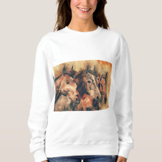 Horses Artistic Watercolor Painting Decorative Sweatshirt
