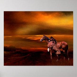 Horses at dusk print