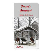 Horses at stable Season's Greetings wine label