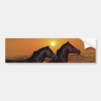 Horses at sunset bumper sticker