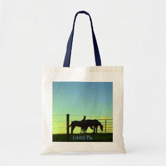 Horses at Sunset. Lititz Pa. Tote Bag. (Plain)
