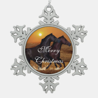 Horses at sunset snowflake pewter christmas ornament