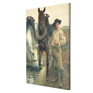 Horses at the Water Trough, 1884 (oil on canvas) Canvas Print