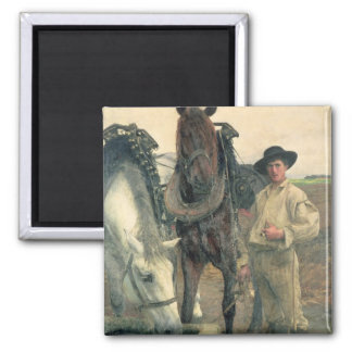Horses at the Water Trough, 1884 (oil on canvas) Magnet