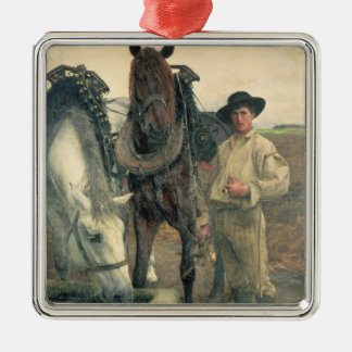 Horses at the Water Trough, 1884 (oil on canvas) Metal Ornament