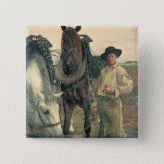 Horses at the Water Trough, 1884 (oil on canvas) Pinback Button