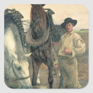 Horses at the Water Trough, 1884 (oil on canvas) Square Sticker