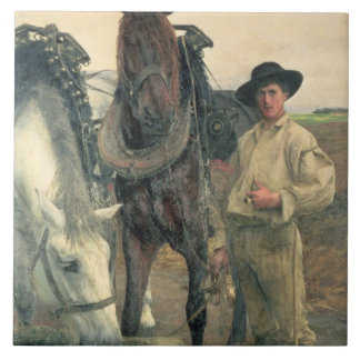 Horses at the Water Trough, 1884 (oil on canvas) Tile