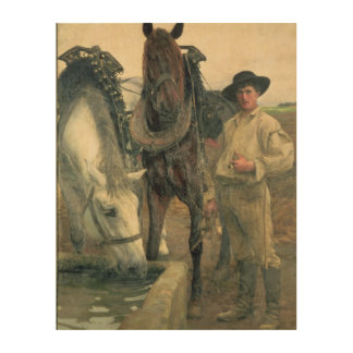 Horses at the Water Trough, 1884 (oil on canvas) Wood Print