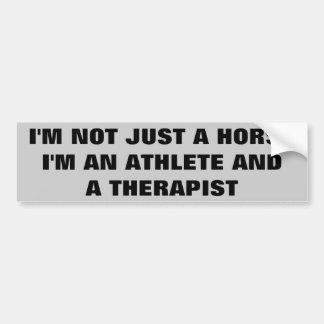 Horses: Athlete and Therapist  -  Horse Trailer Bumper Sticker