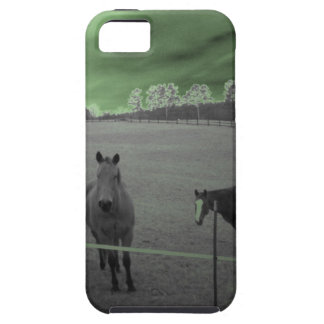 Horses black and white with green iPhone 5 case