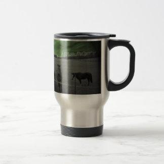 Horses black and white with green travel mug
