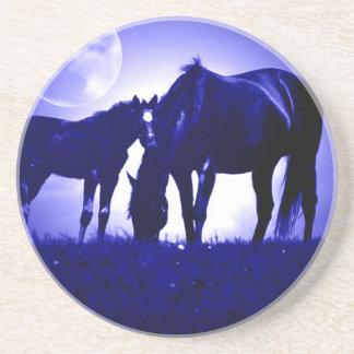 Horses & Blue Night Sandstone Coaster