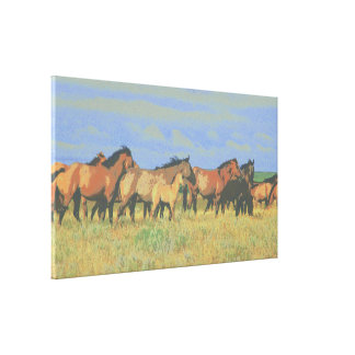 horses stretched canvas print