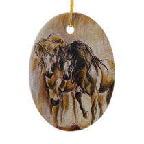 Horses Ceramic Ornament