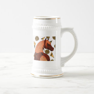Horses: Chestnut in the sunset, swirling shapes Beer Stein