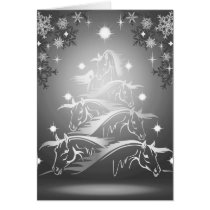 Horses Christmas Tree in Gunmetal Gray Card