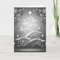 Horses Christmas Tree in Gunmetal Gray Holiday Card