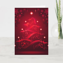 Horses Christmas Tree in Holiday Red