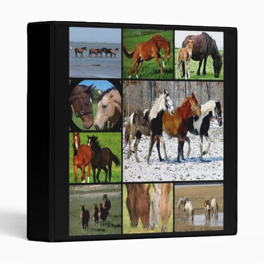 Horses collage print Avery Binder