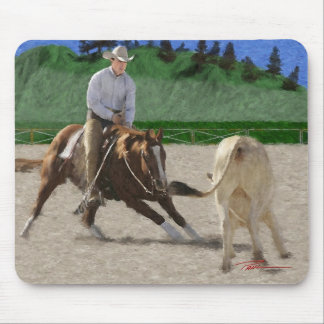 Horses - cutting horse - Face-Off Mouse Pads