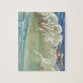 Horses de rey Neptuno en la playa Rompecabezas