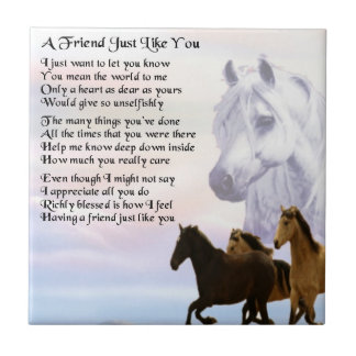 Horses Design - friend Poem Tile